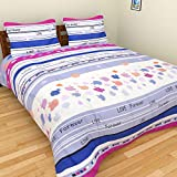 Brida Polycotton Double Bedsheet With 2 Pillow Covers , Multicolor