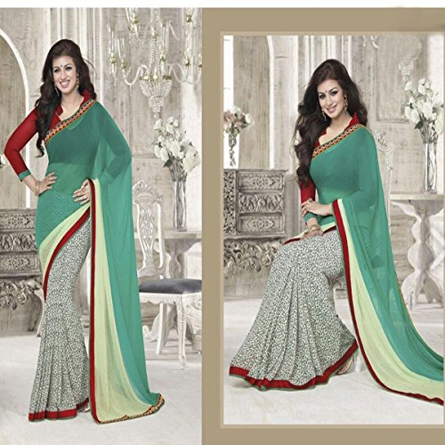 Georgette Sarees with Floral Printed& Beautiful Designer Border Saree along with Unstiched Blouse Piece