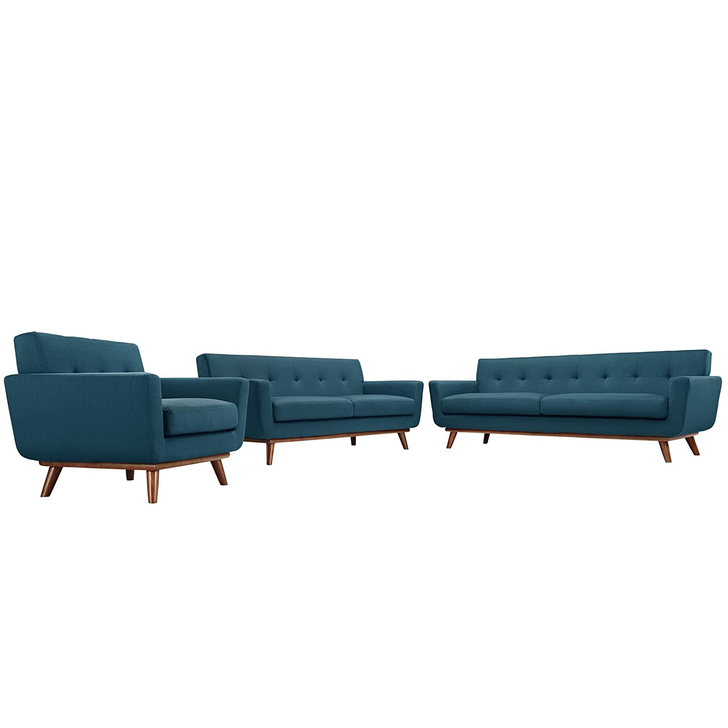 Modern Contemporary Sofa Loveseat and Armchair Set of Three Navy