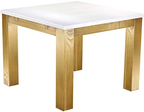 Brasil Furniture Dining Table 'Rio' 100 x 100 cm Solid Pine Wood – Snow – Brasil Colour