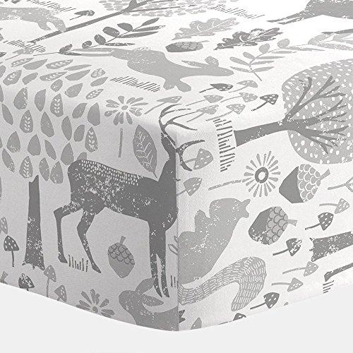 Carousel Designs Gray Woodland Animals Crib Sheet