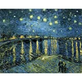 Wieco Art Canvas Print of Starry Night Over the Rhone by Vincent Van Gogh Paintings for Wall Decor