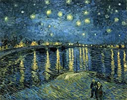 Wieco Art - Starry Night Over the Rhone by Van Gogh Classic Oil Paintings Reproduction Modern Seascape Giclee Canvas Prints Artwork on Canvas Wall Art Ready to Hang for Living Room Home Decorations