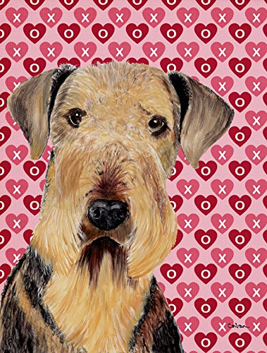 Airedale Hearts Love And Valentine'S Day Portrait Flag Garden Size From Caroline'S Treasures front-98445