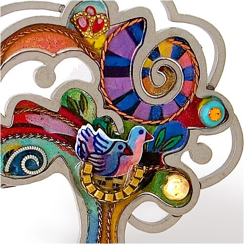 Stainless Steel Colorful Tree of Life Pin