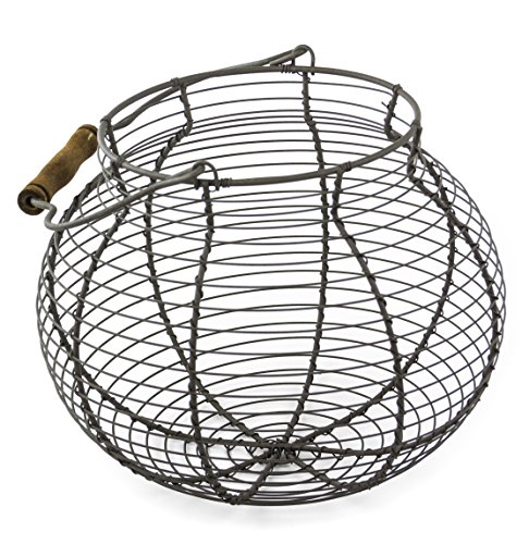 Shabby Chic Wire Flower / Fruit / Egg Basket with Handle (French Wire Egg Basket compare prices)