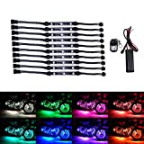 10Pcs Led Light Kits Multi-Color Wireless Remote Control Motorcycle Atmosphere Lamp RGB Flexible Strips Ground Effect Light for Motorcycle
