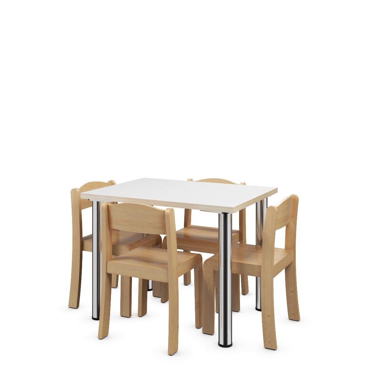 Tisch und 4 Stühle aus Holz für Kinder günstig kaufen