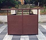 Patio Wicker and Aluminum Handwoven Bar with Storage