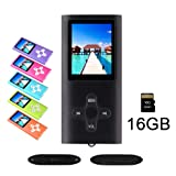 RHDTShop MP3 MP4 Player with a 16 GB Micro SD card, Support UP to 64GB TF Card, Portable Digital Music Player/Video/Voice recorder/FM Radio/E-Book Reader, Ultra Slim 1.7