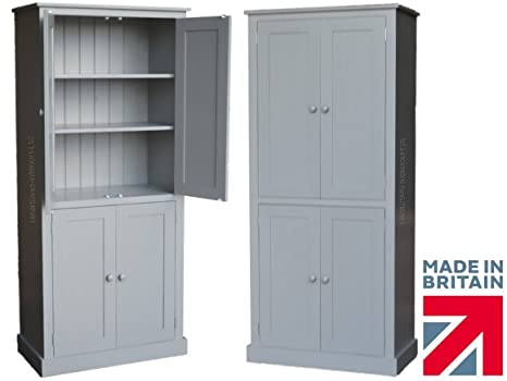 Grey Painted Cupboard, 188cm Tall Solid Wood Pantry, Larder, Linen, Kitchen Storage Cabinet. No flatpacks, No assembly. ANY PAINT COLOUR! (CUP114-P)