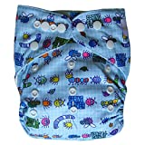 Ecoable All-In-One Bamboo Inner Cloth Diaper/Sewn-In Insert, Bugs