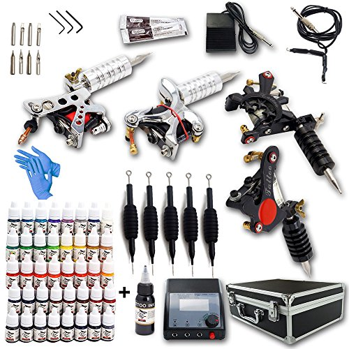 Professional Artist Tattoo Kit 4 Machines 10 Coils Complete Inks Lcd Dual Output Power Supply Carrying Case