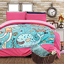 LELVA Mermaid Cartoon Bedding Sets, Kids Bedding Girls, Children\'s Duvet Cover Set, Baby Bedding, Twin Full Queen Size (Twin)