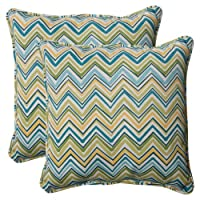 Pillow Perfect Indoor/Outdoor Cosmo Chevron Corded Throw Pillow, 18.5-Inch, Lilypad, Set of 2 from Pillow Perfect
