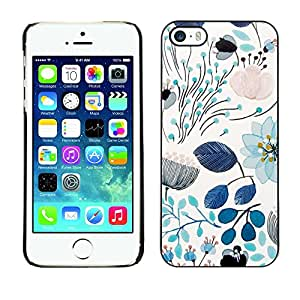Omega Covers - Snap on Hard Back Case Cover Shell FOR Apple iPhone 5 / 5S - Spring Teal Blue Floral Pattern Flowers