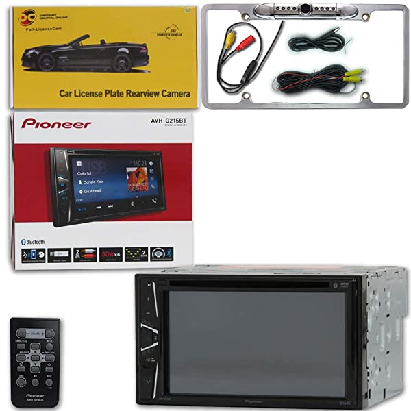 Pioneer AVH-G215BT Car Audio Double Din 2DIN 6.2 Touchscreen DVD MP3 CD Stereo Built-in Bluetooth with DiscountCentralOnline FL09CH Full License Plate Night Vision Waterproof Back-up Camera (Tamaño: FL09CH Full License Plate [Chrome])