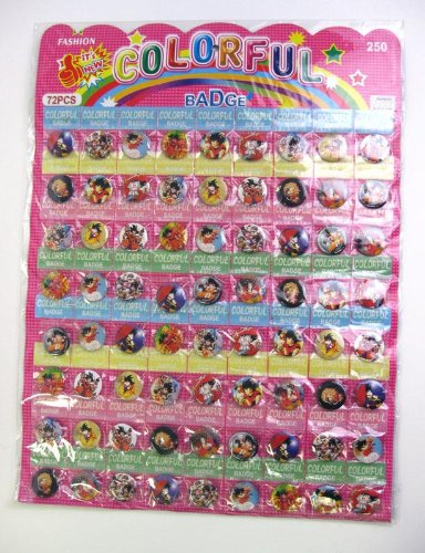 72 New Assorted Dragonball Z Buttons Pins72 New Assorted Dragonball Z Buttons Pins