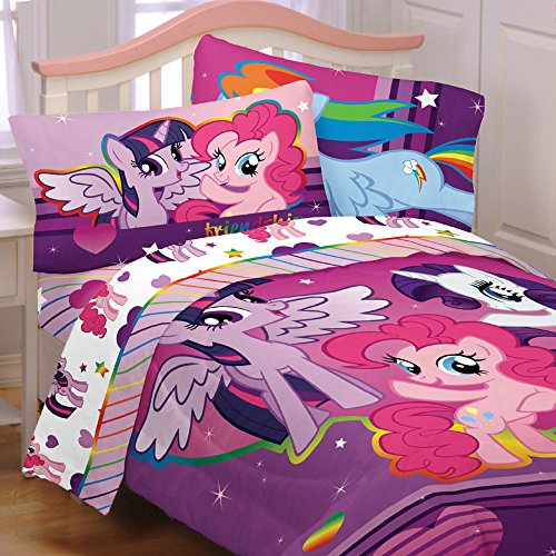 Buy My Little Pony 4pc Twin Comforter and Sheet Set Bedding Collection Purple Pink