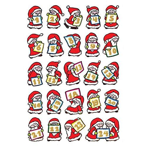 Sticker/Schmucketikett Decor Weihnachten Adventskalender mit Goldprägung 2Blatt/1Pack