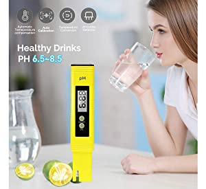 Digital PH Meter Water Quality Tester 0.01 Accuracy Measurement Range 0-14PH Automatic Temperature Compensation (ATC) Drinking Water Hydroponics Spa A