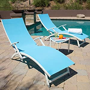 Sol sling chaise lounge set childrens for Blue sling chaise lounge