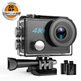 DBPOWER DB0923 N5 4K Action Camera, 5X Zoom HD 20MP Sony Sensor Sports Camera, EIS Wi-Fi Underwater Camera With 170° Wide-Angle Lens Including 2 Rechargeable Batteries And 17 Accessories Kit (Color: N5, Tamaño: 60mm X 42mm X 30MM)