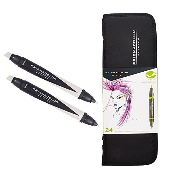 Prismacolor Premier 24-Count Double-Ended Art Markers with Carrying Case and Colorless Blender Marker Set (Color: Yellow)