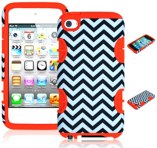 Bastexwireless Bastex Hybrid Hard Case For Apple Ipod Touch 4, 4Th Generation - Orange Silicone With Black & White Chevron Pattern front-797571