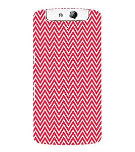 Red Chevron 3D Hard Polycarbonate Designer Back Case Cover for Oppo N1