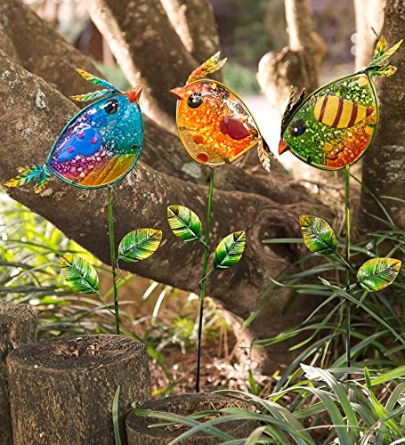 Colorful Glass Bird Garden Stakes, Set of 3