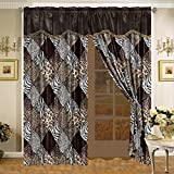 Fancy Collection 2panel Curtain Set Safari Brown White Black Leopard Zebra Cheetah Micro Fur Window Treatment