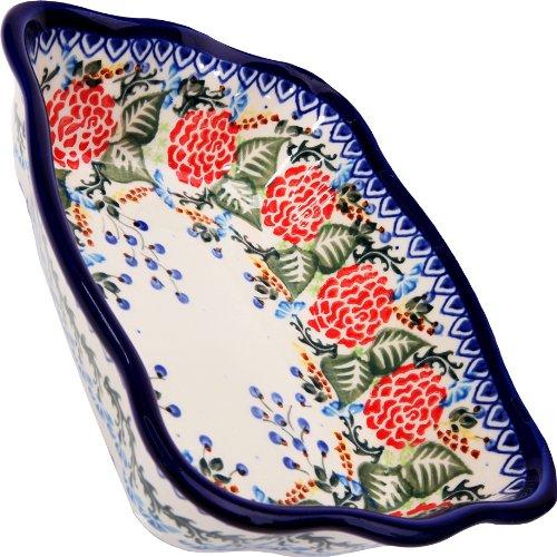 Polish Pottery Ceramika Boleslawiec-1208/280 7-3/4 by 6-1/8-Inch Motif Fala Baker, Royal Blue Patterns, Small