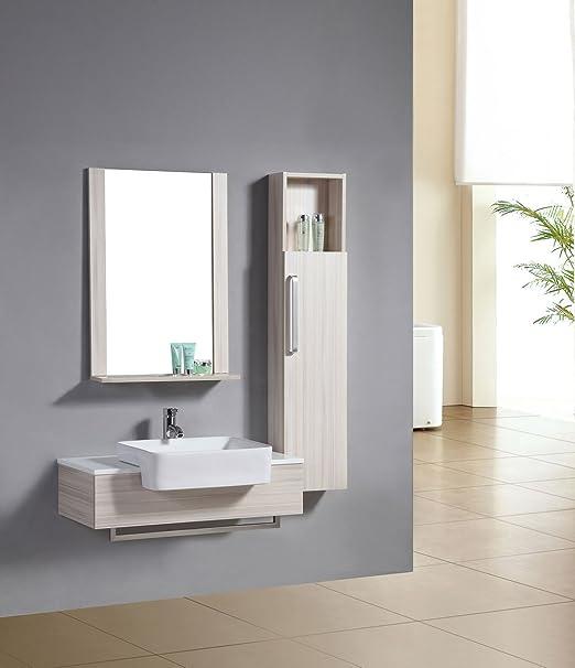 SixBros. Living Mobile da bagno - Arredo bagno Riga quercia effetto legno - M-70116/2091 - Specchio - Pensile/Armadietto base - Lavabo