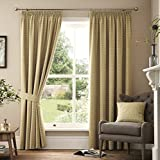 Marlowe Woven Jacquard Pencil Pleat Lined Curtains, Natural, 66 x 72 Inch