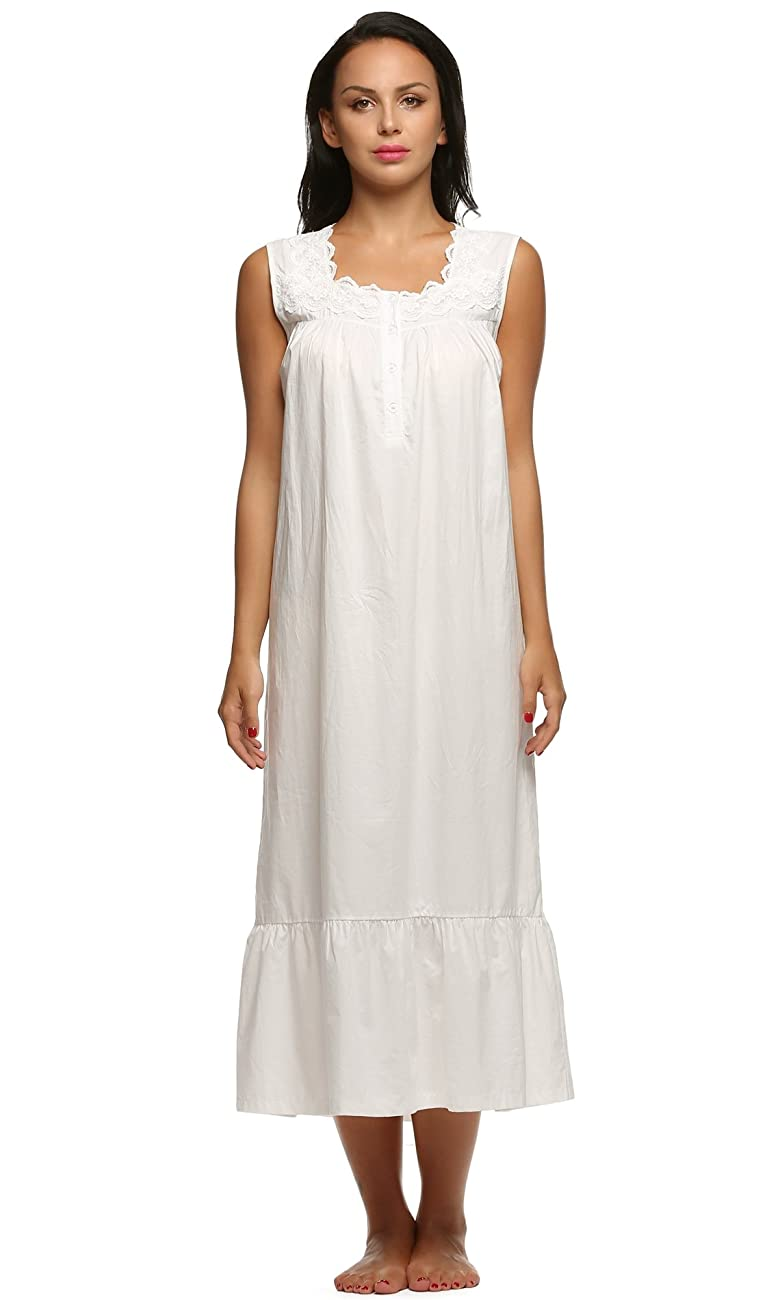 Ekouaer Womens Nightgown 100% Cotton Victorian Long Sleeveless Sleepwear S-XL 0