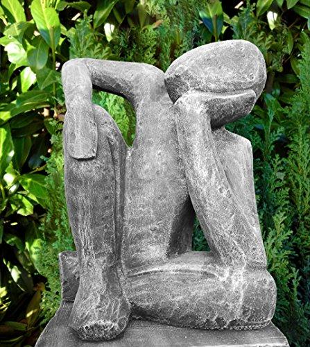 Steinfigur Träumer Steinguss Schiefergrau thumbnail