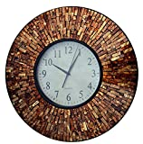 Lulu Decor, Baltic Amber Mosaic Wall Clock, Decorative Round Wall Clock in Arabic Dial, Diameter 19 , Dial Size 9 Perfect for Housewarming Gift.