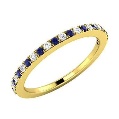 0.23 tcw SI1/G Diamond and Natural Blue Sapphire Eternity Wedding Band / Anniversary Ring in 18ct Solid Yellow Gold