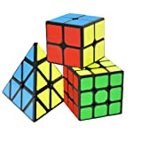 Coolzon Speed Cube Set, Rubix Cube Set, 3 Pack Magic Cubes Pyraminx + 2x2x2 + 3x3x3 Puzzle Cube Toy Gift for Kids & Adults