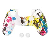 Rawuin Soft Camouflage Silicone Cover + 2 Thumbstick Caps For Dualshock 4 PS4 Controller (Colorful) (Color: Colorful)