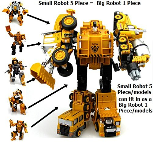 [Rabbit malls,Hot Transformation Robot Diecast Truck 5 in 1 Action Figures Classic Robot Toys Metal Alloy Toys For Children Christmas Gift by Rabbit] (Roomba Costume Pattern)