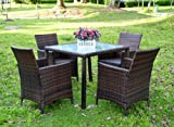 Evre Rattan Garden La 4 Seater Dining Set Chair Table Glass Patio Furniture , Brown