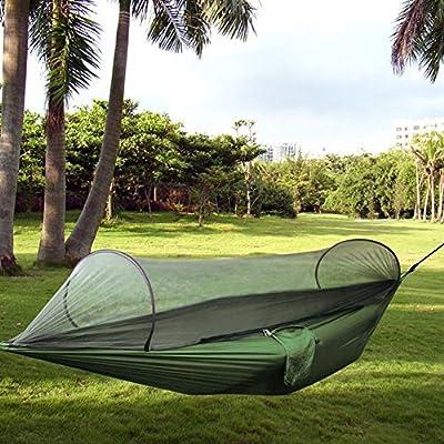 AUTOPKIO Außen Parachute Tuch-Gewebe Hammock tragbare Camping Hängematte mit Moskitonetzen einzelne Person Hammock Swing-Reise von AUTOPKIO auf Gartenmöbel von Du und Dein Garten