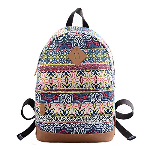 0e883f4f7a06 Douguyan Girl's Casual Lightweight Print Backpack Cute School Bag Campus  Satchel Geometry Pattern Blue 133