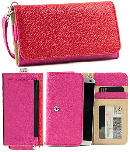 Nuvur ™ Slim Wallet Case Clutch Holds Id,Cards,Money (Pink/Red) Sony Xperia Z3 Compact (Aka Sony D5803, D5833)