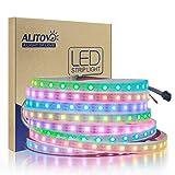 ALITOVE 16.4ft 300 LEDs WS2812B Individually Addressable 5050 RGB LED Strip Light LED Pixel Flexible Lamp Tube Waterproof IP67 White PCB (Color: 300 Leds White Pcb Waterproof Ip67, Tamaño: White FPCB Waterproof IP67)