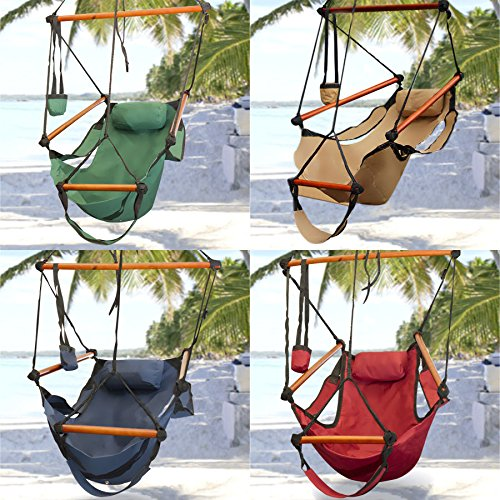 New Shop Hammock Hanging Chair Air Deluxe Sky Swing Outdoor Chair Solid Wood 250Lb Premium Quality! Red