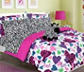 Teen Tween Girls Kids Bedding - MISTY ZEBRA Bed In A Bag. Twin and Full Size Comforter set -Plush Toy Included - Love, Hearts - Hot Pink, Turquoise Blue, Purple, Green, Black and White