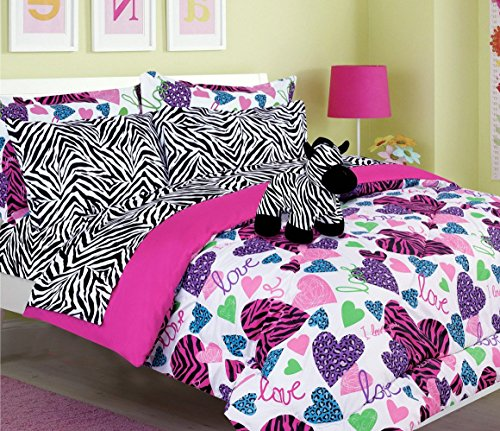 Teen Tween Girls Kids Bedding - MISTY ZEBRA Bed In A Bag. (Double) FULL SIZE Comforter set -Plush Toy Included - Love, Hearts - Hot Pink, Turquoise Blue, Purple, Green, Black and White (Zebra Full Bedding compare prices)